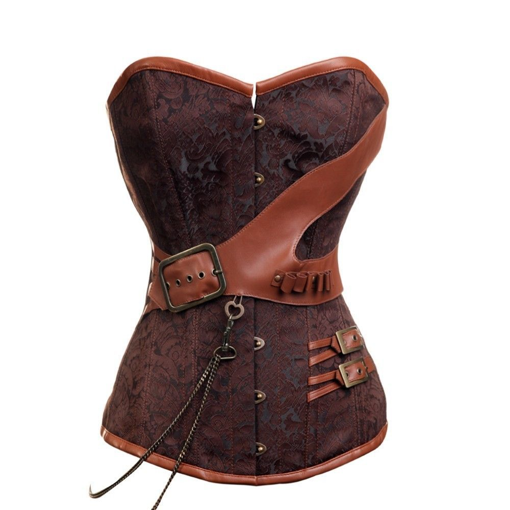 Brown Brocade Leather Buckles Chain Gothic Steampunk Bustier Overbust Corset Top
