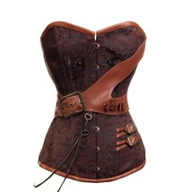 Brown Brocade Leather Buckles Chain Gothic Steampunk Bustier Overbust Co... - $61.81