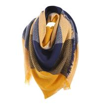 Winter Wool Cashmere Scarf Women Casual Plaid Scrves - $24.22