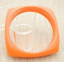 Orange Acrylic Square Bangle Bracelet Vintage - $19.80