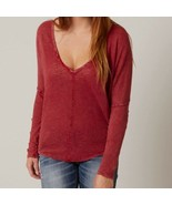 FREE PEOPLE Santa Cruz Henley burnout top oversized red womens XS - $38.61