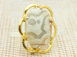 Gray Tan White Orange Agate Oval Gold Tone Pin Brooch Vintage image 2