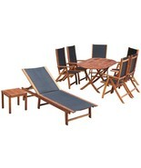 vidaXL Outdoor Furniture Set 9 Pieces Patio Wicker Dining Table Chairs L... - £428.32 GBP