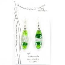 Handmade Recycled Fused Glass Green Oval Surf Drop Hook Earrings Made Ecuador