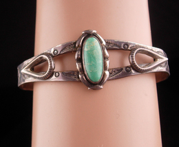 Vintage Sterling Bracelet - Harvey Era signed Cuff - turquoise jewelry  - $125.00