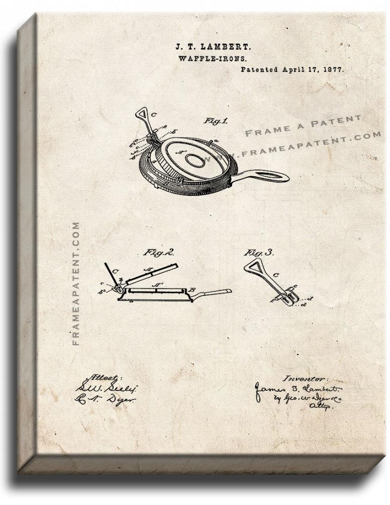 Primary image for Waffle Iron Patent Print Old Look on Canvas