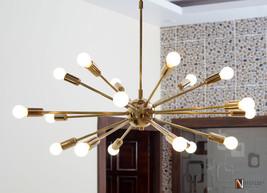 Mid Century Modern Brass Sputnik Chandelier light fixture 18 Lights Chan... - £234.71 GBP