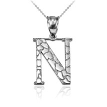 "Sterling Silver Nugget Initial Alphabet Letter ""N"" Pendant Necklace - $18.99+"