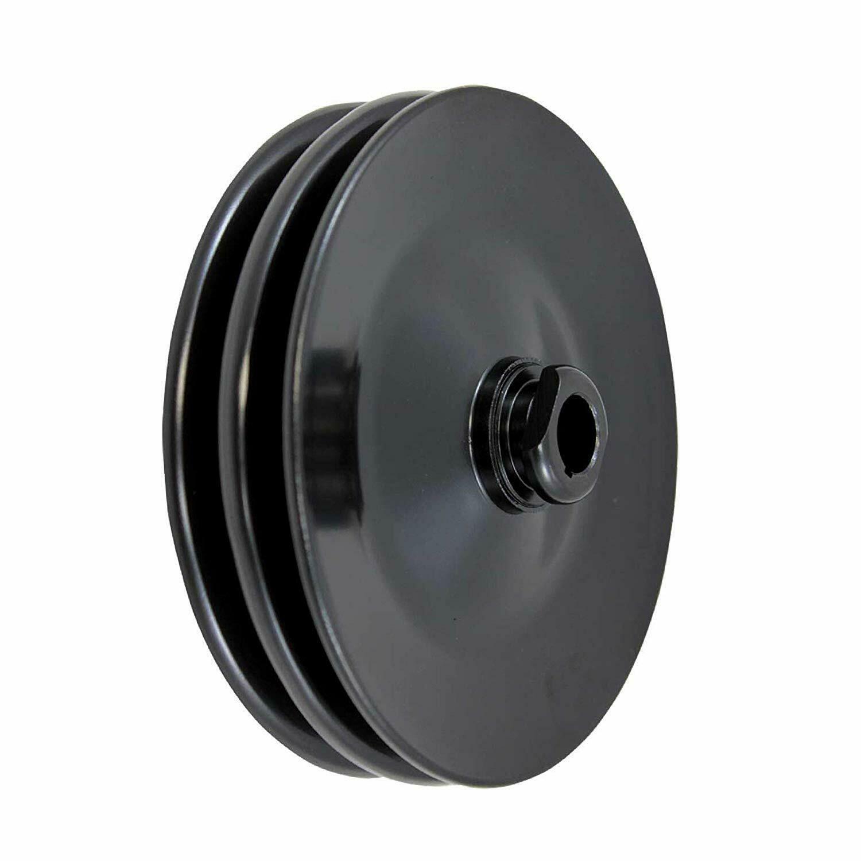 GM Saginaw Power Steering Pump Double-Groove Steel Pulley (Black)