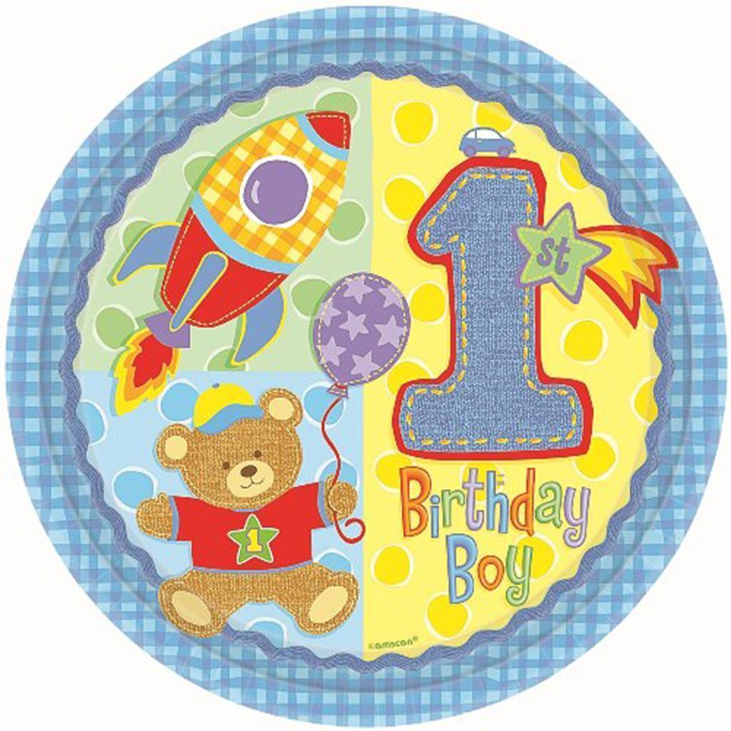 Hugs and Stitches 1st Birthday Boys Dessert Plates 8 Ct Birthday Party Supplies