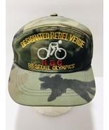 Vintage 1988 Seoul Korea Olympics Snapback Hat Bicycle Cap Camoflage Cam... - $45.55