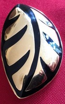 MONET Retro gold tone and black enamel jewelry PIN/Brooch collectible - $11.30