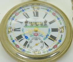 Rare vintage Swiss RMDC pocket watch with fancy hand painted dial.Engrav... - $700.00