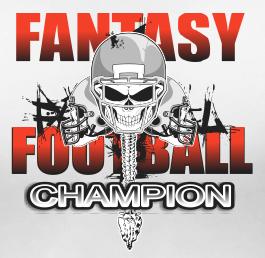 Fantasy Football Champion Mens White T Shirt Skull Design Short Sleeve L XL 2X N