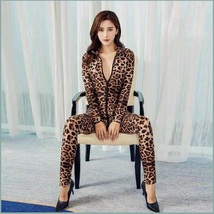 Sheer Stretch Brown Large Leopard Print Long Sleeve Front Zips to Back Catsuit image 3