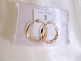 "Charter Club 2"" Gold Tone Pave Bottom Hoop Earrings L689 $44 - $12.89"
