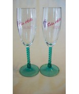 Pair of Green Spiral Stem Wine Glasses from Eola Hills Wine Cellar of Or... - $29.70