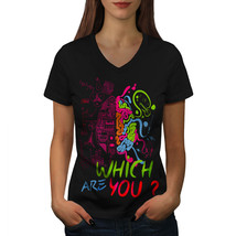 Which Brain Nerd Geek Shirt Choose Side Women V-Neck T-shirt - $12.99+