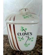 Vintage Canister Cloves Spice Jar Clovers Shamrocks Japan - $10.00