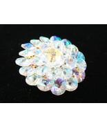 "Rivoli Crystal Aurora Borealis Brooch Gold Tone 2"" - $27.07"