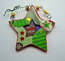 rustic star shaped picture frame Christmas ornament Green Beaded - $3.90
