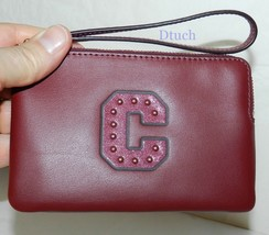 "NEW COACH F22709  LEATHER WRISTLET WITH GLITTER PATCH ""C"" IM/CRIMSON - $34.64"