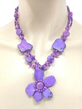 Statement Flower Necklace Earrings Simulated Purple-Lavender Natural Stones - $14.82
