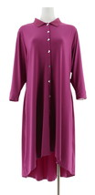H Halston Jet Set Jersey 3/4 Slv Shirt Dress Elderberry L NEW A307696 - $41.56