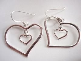 Heart inside Heart 925 Sterling Silver Dangle Earrings Corona Sun Jewelry - $14.84