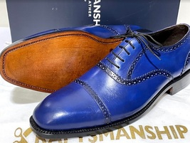Handmade Men's Blue Leather Lace Up Dress/Formal Oxford Shoes image 3