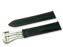 Black/Orange Leather Watch Strap Band for Omega Seamaster Clasp 18 19 20... - $37.26+