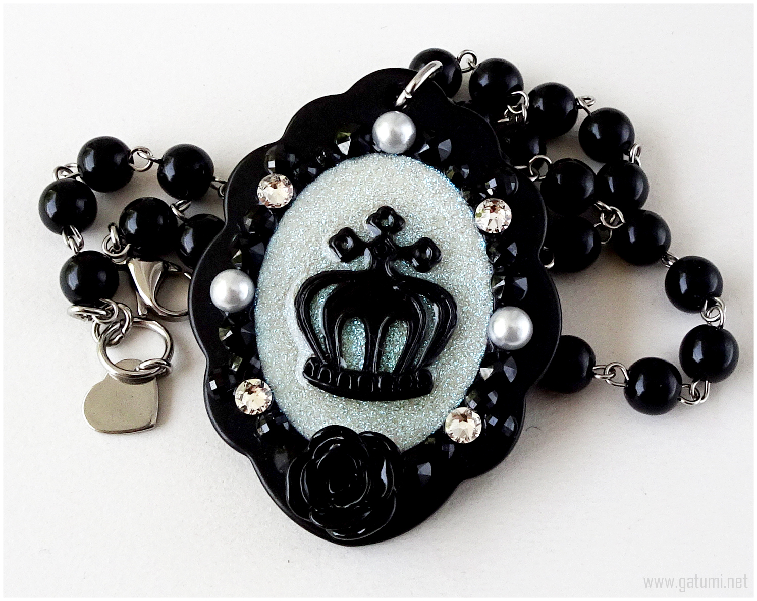 Black Crown Necklace, Resin, Cameo Jewelry, Gothic Lolita, EGL, Handmade - $27.00
