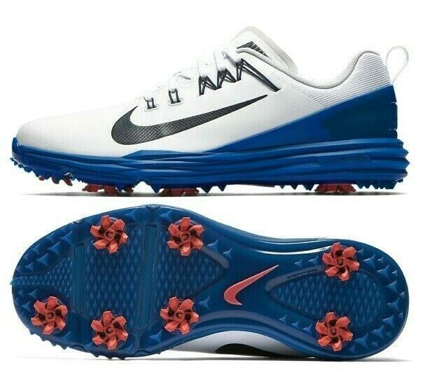 NIKE LUNAR COMMAND 2 GOLF SHOES WHITE/BLUE/RED SIZE 10 NEW W/BOX (849968-103)