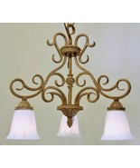 Regal Gold Finish Scrolled Metal Pendant Chandelier Light French Swirl G... - $144.16