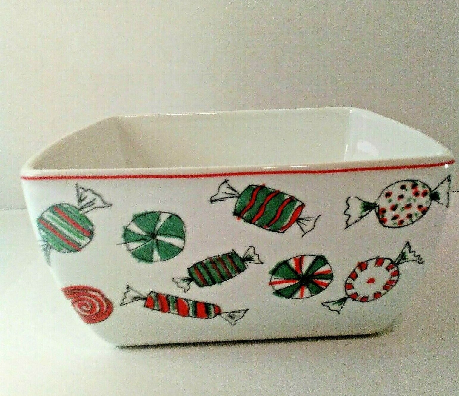 Primary image for Food Network Porcelain Holiday Treats Deep Dish Square Microwave Safe Bowl