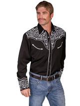 Men's Western Shirt Long Sleeve Rockabilly Country Cowboy Blk White Embr... - $87.38