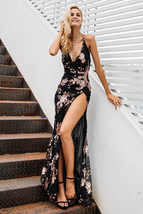 Sexy Lace Up Halter Sequin Party Dresses Women Backless High Split Maxi Dress - $37.50