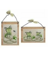Green Frog Pictures Couple of Frogs Toads with Fly Cartoon Wall Hangings... - $7.99+