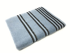 Striped Bright 100% Combed Cotton Soft Absorbant Blue Bath Towel - $16.92