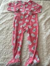 Child Of Mine Girls Pinks White Polar Bears Fleece Long Sleeve Pajamas 3T  - $5.48