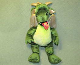 """19"""" BUILD A BEAR GREEN DRAGON FIRE BREATHING WITH GOLD WINGS STUFFED ANI... - $17.82"""