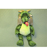 "19"" BUILD A BEAR GREEN DRAGON FIRE BREATHING WITH GOLD WINGS STUFFED ANI... - $17.82"