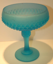 C.1950'S FROSTED BLUE GLASS COMPOTE DIAMOND POINT VINTAGE SATIN GLASS DI... - $38.99