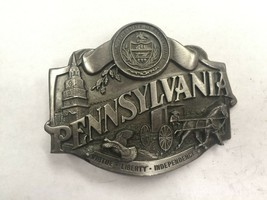 Vintage Pewter Pennsylvania Belt Buckle Siskiyou Buckle Co. W-55 1987 USA - $10.40