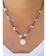 Fair Trade ROSE QUARTZ Bead Wax Cotton Pendant Choker NECKLACE Thai Jewelry - $8.09