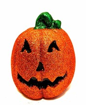 Halloween Glitter Jack-o-Lantern Orange LED Sound Activated Pumpkin 8 in... - $29.69