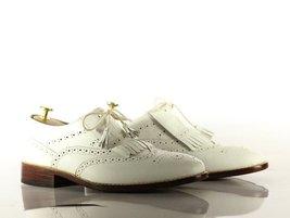 Handmade Men's White Leather Wing Tip Heart Medallions Fringe Dress/Formal Shoes image 3
