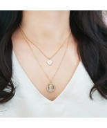 Multi-Strand Coin Heart Pendant Double Necklace Ball Chain Choker Gold T... - $20.56