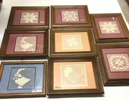 Lot Of 8 Framed Quilt Embroidered Handmade Art Pictures White Thread Lon... - $59.39