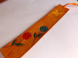 Leather Bookmark - Flowers with Majestic Butterfly - $10.00